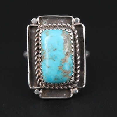 Southwestern Signed Sterling Silver Turquoise Ring