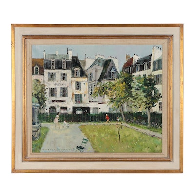 "Jacques Bouyssou Oil Painting ""Paris, La Petit Square"""