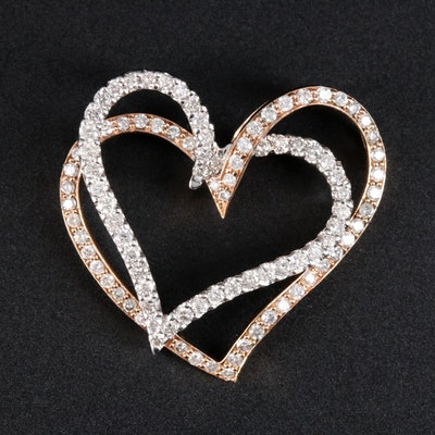 14K White and Rose Gold 1.83 CTW Diamond Double Heart Pendant