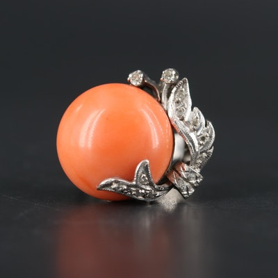 1940s 10K White Gold Coral and Diamond Ring