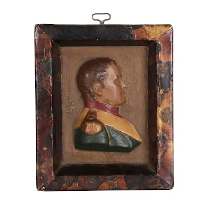 Hand-Painted Plaster Bust Portrait of Napoleon, Late 19th to Early 20th Century