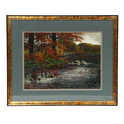 Ivan Ivanovitch Kowalski River Landscape Pastel Drawing, Early 20th Century