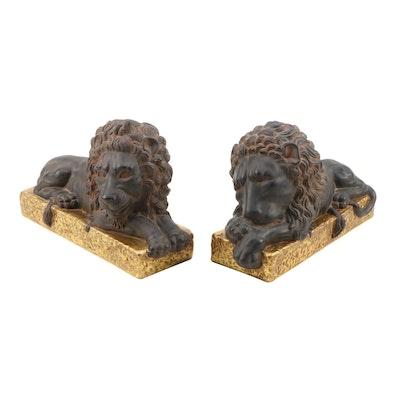 Earthenware Recumbent Lion Sculptures