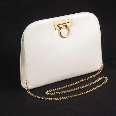 Salvatore Ferragamo Gancini Plate White Leather Shoulder Bag, Vintage