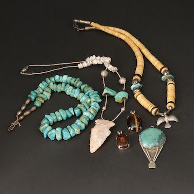 Sterling Silver Necklace and Pendant Including Turquoise and Fire Agate
