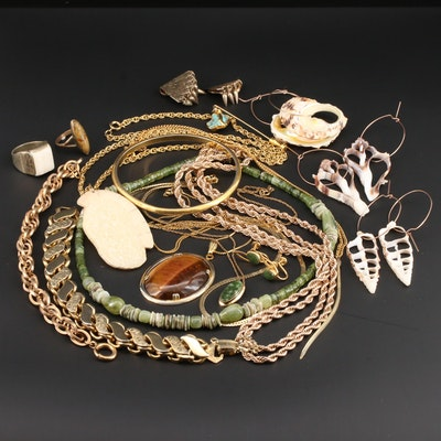 Vintage Tiger's Eye, Shell, and Serpentine Jewelry Assortment