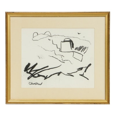 Paul Chidlaw Abstract Charcoal Drawing, Mid to Late 20th Century