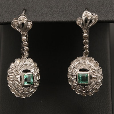1940s Style 10K White Gold Emerald and Diamond Drop Earrings