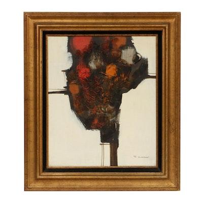 T. Gordoni Abstract Impasto Mixed Media Painting, Mid-20th Century