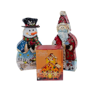 Metal Snowman and Santa Figurines with Stained Glass Ginger Bread House
