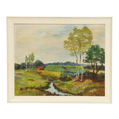 R. Dassel Pastoral Landscape Oil Painting, Mid-20th Century