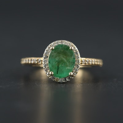 10K Yellow Gold 1.00 CT Emerald and Topaz Ring