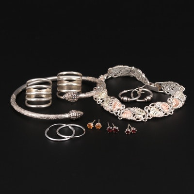 Sterling Silver Earrings, Rings, Bracelet with Garnet and Glass