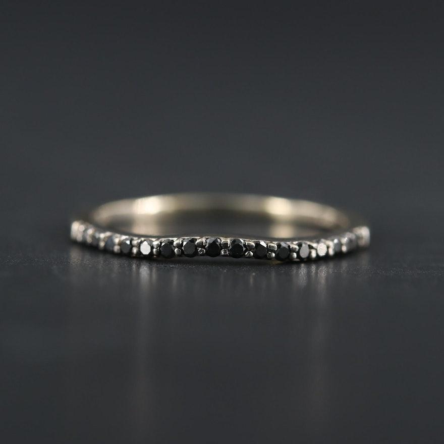 14K White Gold Black Diamond Enhancer Band