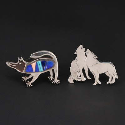 Sterling Silver Lapis Lazuli, Shell and Turquoise Inlay Animal Brooches