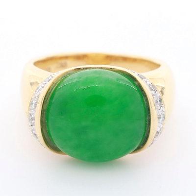 18K Yellow Gold Jadeite and Diamond Ring