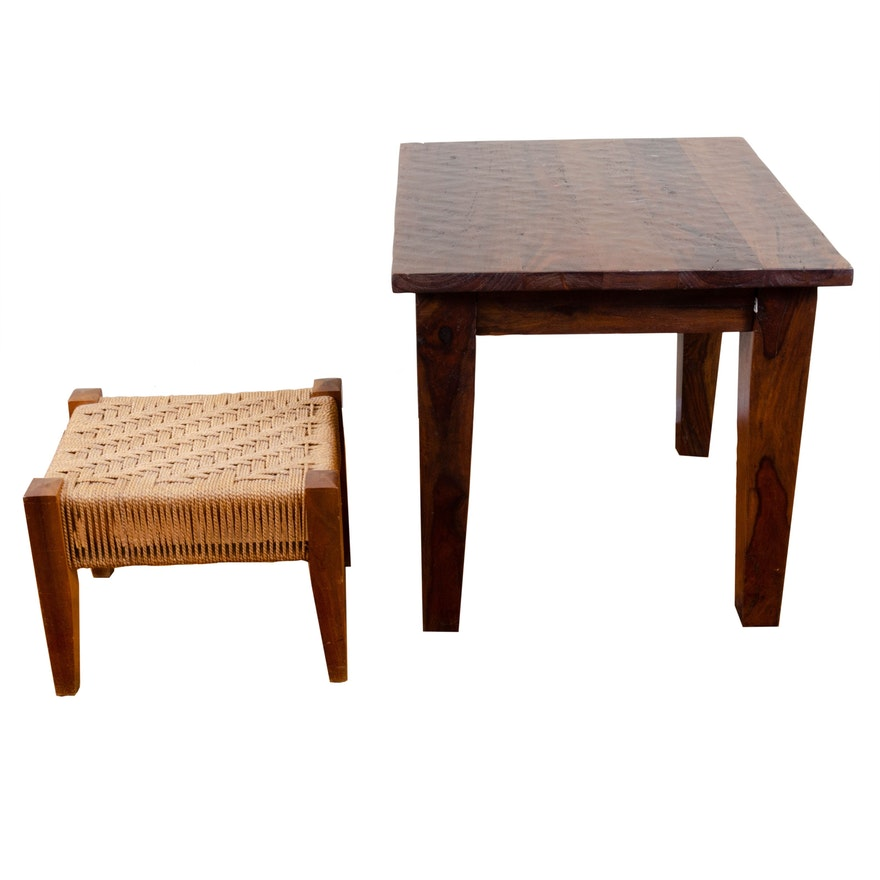 Modern Rope-Woven Footstool and Plank Top Side Table