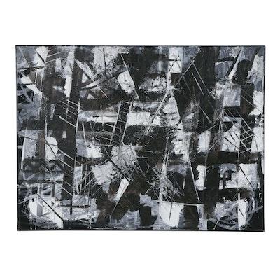 """Oluseyi Soyege Mixed Media Painting """"Black and White"""", 2019"""