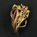 Circa 1950s 18K Yellow Gold Pink Sapphire Floral Brooch with Florentine Finish