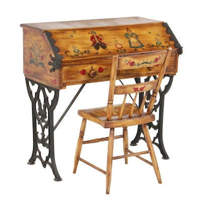 Folk-Painted and Iron-Mounted Slant Front Desk and Chair, 20th Century