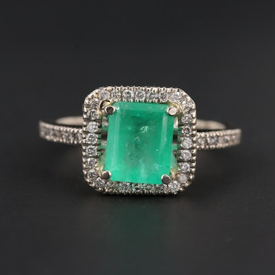 14K White Gold 1.31 CT Emerald and Diamond Ring
