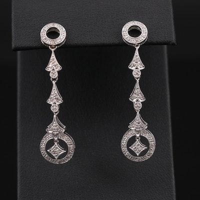 14K White Gold Diamond Articulating Drop Earrings