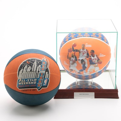 New York Knicks and an NBA All-Star Logo Basketballs with Case