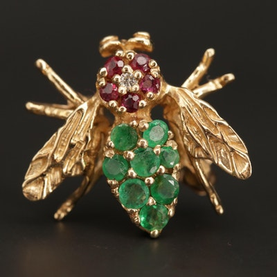 14K Yellow Gold Diamond, Ruby and Emerald Bumble Bee Brooch