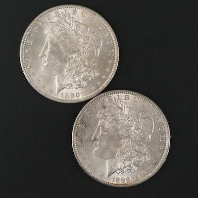 1889 and 1890 Morgan Silver Dollars