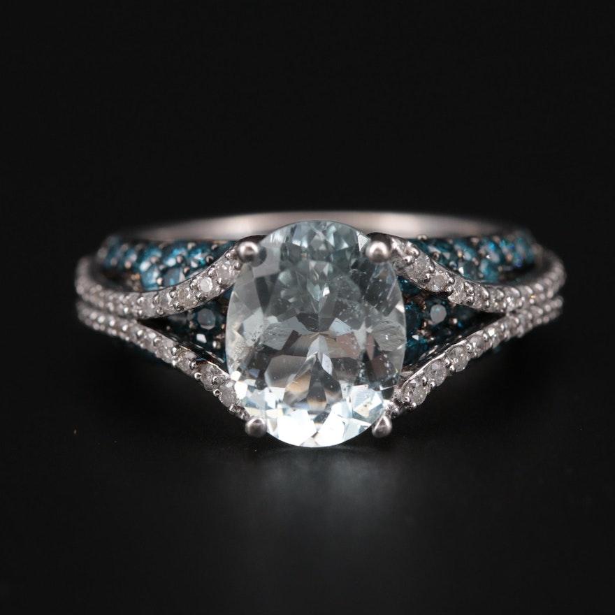 14K White Gold Aquamarine and 1.02 CTW Diamond Ring