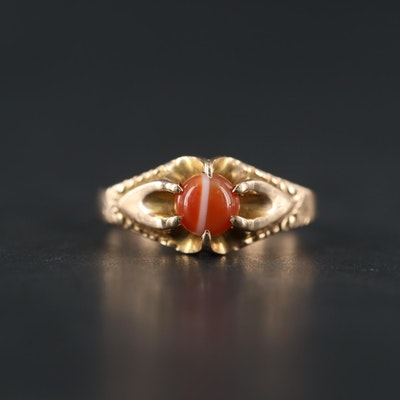 Vintage 10K Yellow Gold Agate Ring