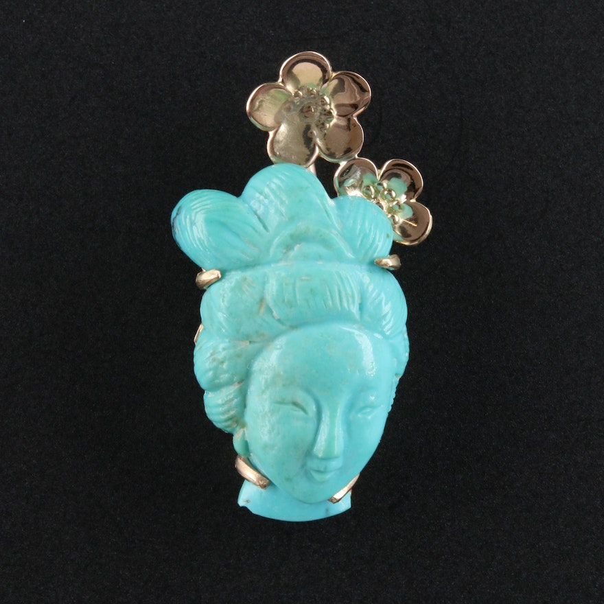 Asian Style 14K Turquoise Carved Figural Pendant with Sakura Blossom Accents