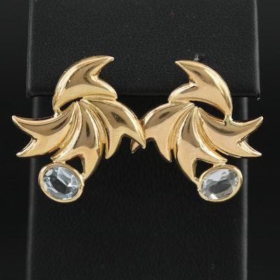 18K Yellow Gold Blue Topaz Earrings