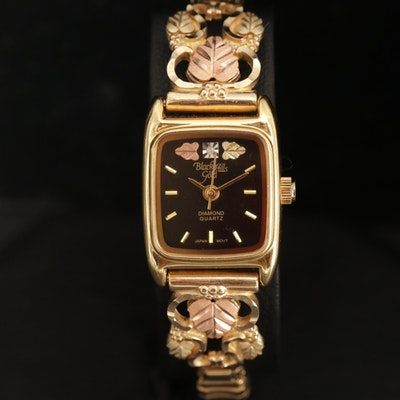 Black Hills Gold Diamond Wristwatch with 12K Gold Leaves and 10K Band Accents