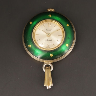Nicolet Green Enamel Stem Wind Pendant Watch