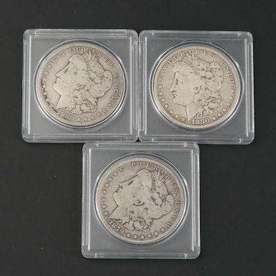 1879, 1880-S and 1880-O Morgan Silver Dollars