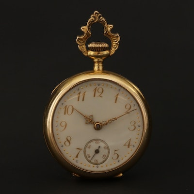 Antique Swiss 18K Gold Open Face Diamond and Ruby Pocket Watch