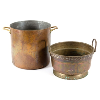 Brass Stock Pots, Early to Mid 20th Century