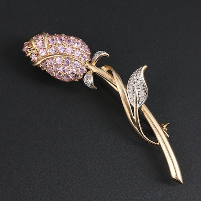 10K Yellow Gold Pink Sapphire and Diamond Floral Brooch