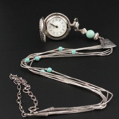 Carolyn Pollack Carlisle Liquid Silver Watch Necklace