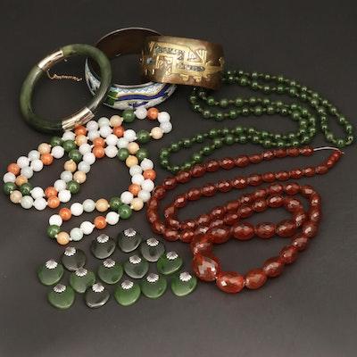 Jadeite, Abalone and Nephrite Jewelry Assortment