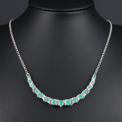 Sterling Silver Emerald and Diamond Necklace
