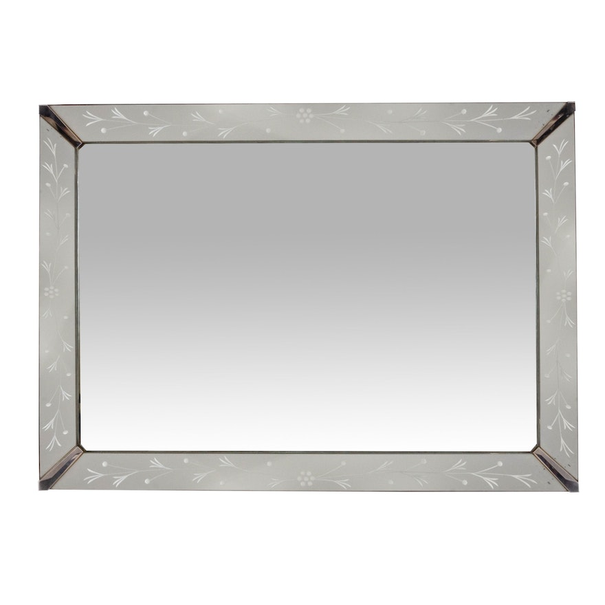 Vintage Wall Mirror with Etched Glass Border