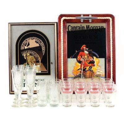 Captain Morgan and Taittinger Wall Mirrors with Leroux & Xaveriana Bar Glasses
