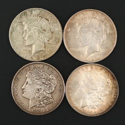 Two Morgan and Two Peace Silver Dollars