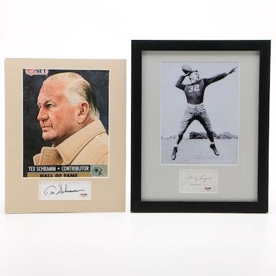 Johnny Lujack and Tex Schram Signed NFL Hall of Fame Photo Prints, PSA/DNA COA