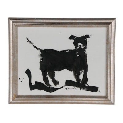 Robert Canete India Ink Dog Drawing