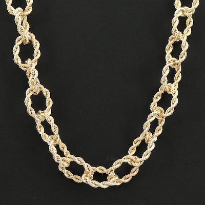 14K Yellow Gold Twisted Rope Cable Link Necklace