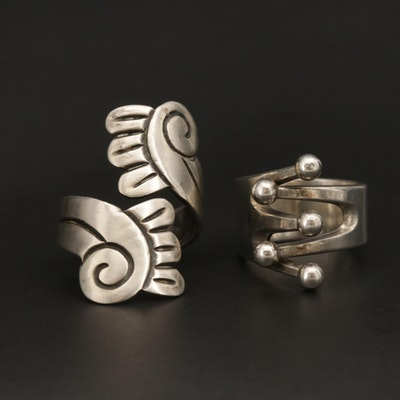 Modernist Sterling Silver Rings Featuring Anna Geta Eker and Taxco