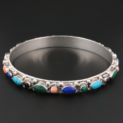 Mexican Sterling Silver Shell and Gemstone Bangle Bracelet